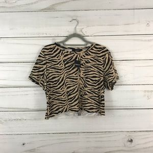 Forever 21 NWT Black Tan Print Crop Top Size 2XL